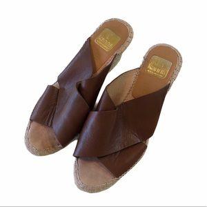 Kanna Brown Leather Espadrilles Wedges 8